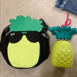 Victoria's Secret pink pineapple bag and cup